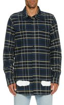Off-White Spray-Paint Plaid Flannel Shirt, Blue/White