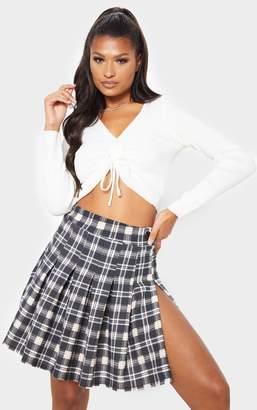 PrettyLittleThing Stone Check Tennis Side Split Skirt