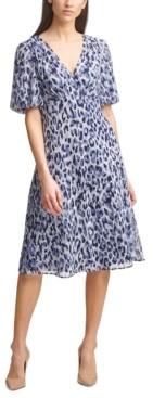 Jessica Howard Printed Chiffon A-Line Dress
