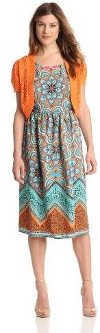 Amy Byer Women's Sleeveless Midi Dress With Lace Trim Cardigan