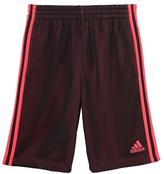 adidas Black & Shock Red Triple-Up Shorts - Girls