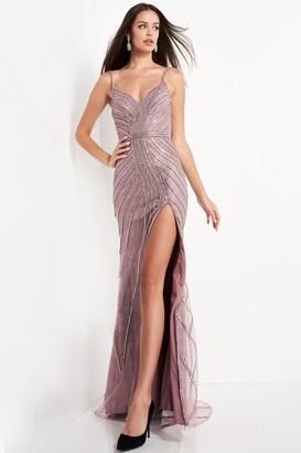 Jovani Embellished High Slit Gown