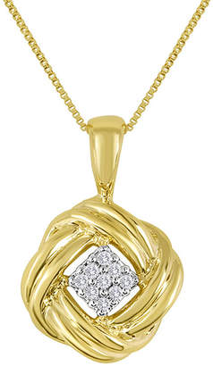 FINE JEWELRY Diamond-Accent 10K Yellow Gold Love Knot Cluster Pendant Necklace