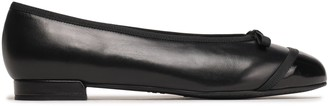 Stuart Weitzman Bow-embellished Smooth And Patent-leather Ballet Flats