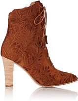 Ulla Johnson Women's Embroidered Audrey Ankle Boots-BROWN
