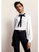 River Island Womens White frill neck pussybow blouse