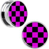 Body Candy Stainless Steel Pink and Black Checkered Screw Fit Plug Pair 20mm