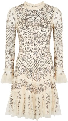 Needle & Thread Marigold Rose embroidered tulle mini dress