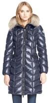 Moncler Women's 'Bellette' Lacquer Down Coat With Genuine Fox Fur Ruff