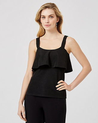 Le Château Textured Knit Ruffle Tank Top