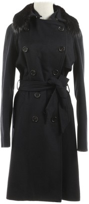 Yves Salomon Navy Wool Coat for Women