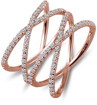 Lafonn Rose Gold Plated Double Cross Ring with Simulated Diamonds