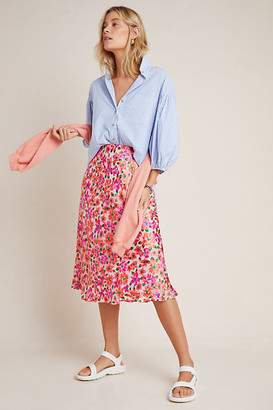 Maeve Ravenna Bias Midi Skirt By in Pink Size S