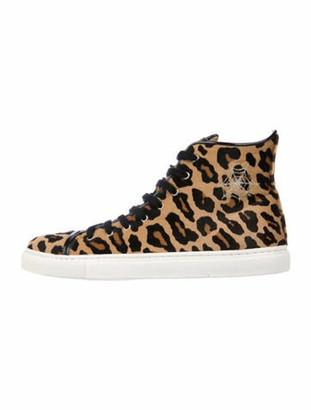 Charlotte Olympia Ponyhair Animal Print Sneakers Brown
