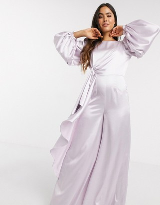 ASOS DESIGN knot drape satin jumpsuit with wide leg in lilac