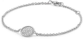 David Yurman 18K White Gold & Pave Diamond Cable Bracelet