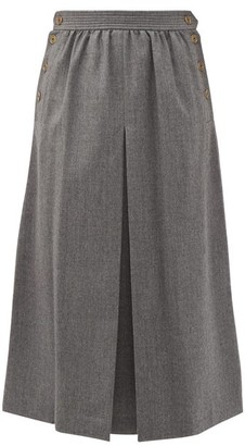 Fendi Buttoned Pleated Wool-twill A-line Skirt - Dark Grey