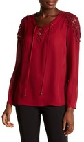 KUT from the Kloth Alyssa Crochet Trim Lace-Up Blouse