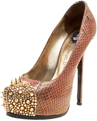 Philipp Plein Two Tone Python Leather Crystal and Spike Embellished Cap Toe Platform Pumps Size 39