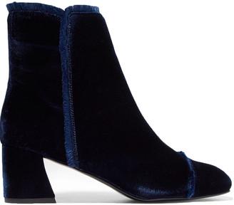 Stuart Weitzman Frayed-trimmed Velvet Ankle Boots