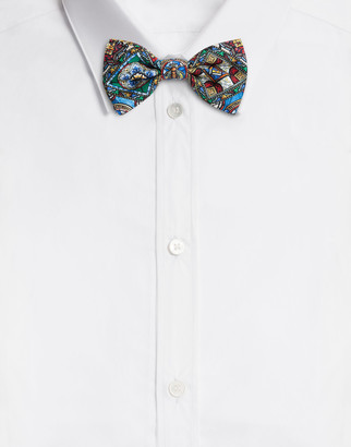 Dolce & Gabbana Bow Tie In Stained Glass Window Style Print Silk