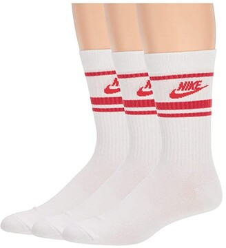Nike Crew Essential Stripe 3-Pack (White/University Red/University Red) Crew Cut Socks Shoes