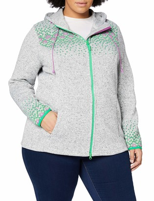 Ulla Popken Women's Strickfleece Blumen Cardigan Sweater