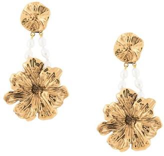 Jil Sander flower pearl clip-on earrings