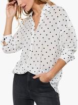 Mint Velvet Spot Print Shirt, White