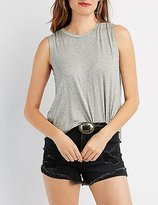 Charlotte Russe Lace-Up Back Flyaway Muscle Tee