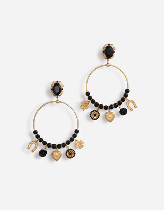 Dolce & Gabbana Pendant Hoop Earrings With Votive Decorations And Small Roses