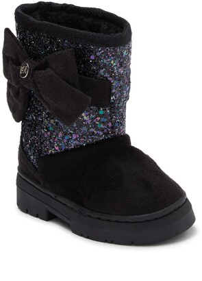 Bebe Glitter Bow Faux Fur Lined Winter Boot