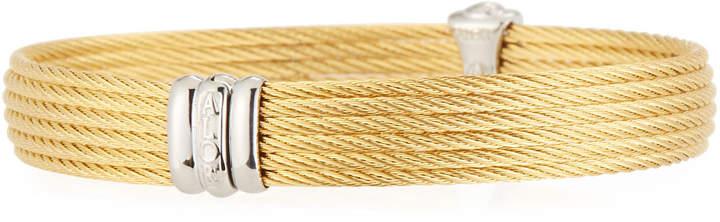Alor Classique Multi-Row Bangle w/ White Diamond Pave, Golden