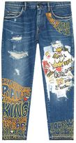 Dolce & Gabbana Oversized Royal Motif Distressed Jeans