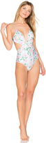 Wildfox Couture Dusty Rose Print Marilyn Maillot One Piece Swimsuit