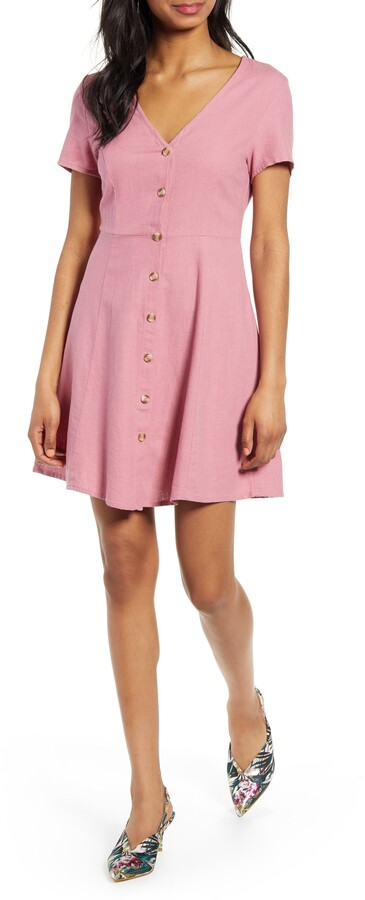 b8a5154836be Anna Button Through Fit & Flare Dress