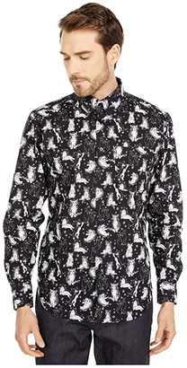 Naked & Famous Denim Easy Shirt in Cute Cats (Black) Men's Clothing