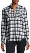 Current/Elliott Perfect Plaid Fray-Hem Shirt, Black