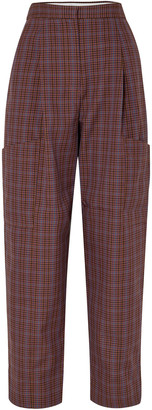 Tibi Checked Woven Tapered Pants
