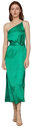 BCBGMAXAZRIA One Shoulder Midi Dress (Sapphire Green) Women's Clothing