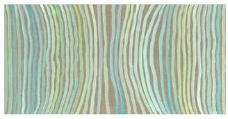 Pottery Barn Aqua Stripes Hand Embellished Canvas Print
