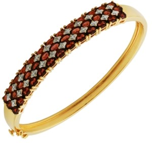 PRIME ART & JEWEL 18K Gold Over Sterling Silver Garnet with Diamond Accent Bracelet