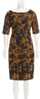 Lela Rose Ruched Jacquard Dress