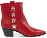 Saint Laurent Star-appliquéd Leather Ankle Boots - Red
