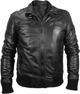 Forzieri Men's Black Leather Motorcycle Jacket