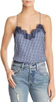CAMI NYC Gingham Silk Camisole Top