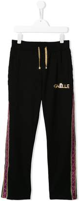 Gaelle Paris Kids metallic logo side stripe track pants