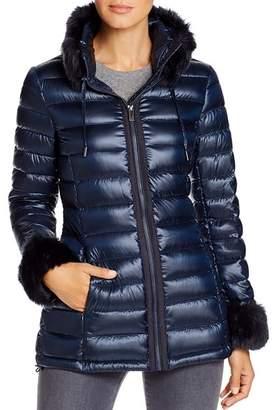 Via Spiga Faux Fur Trim Puffer Jacket