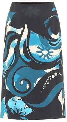 Dries Van Noten Printed scuba pencil skirt