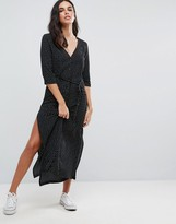 Goldie Breezy Square Dot Maxi Dress With Button Up Front And Waist Tie